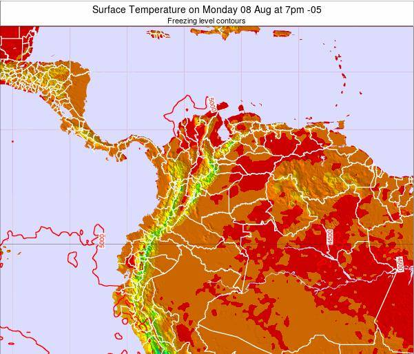 Colombia Surface Temperature on Tuesday 05 Aug at 7pm COT