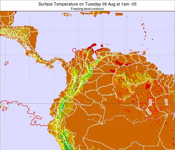 Colombia Surface Temperature on Saturday 25 May at 7pm COT