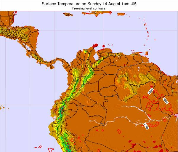 Colombia Surface Temperature on Monday 26 Feb at 1pm COT map