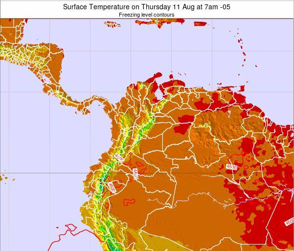 Colombia Surface Temperature on Thursday 07 Jul at 1pm COT