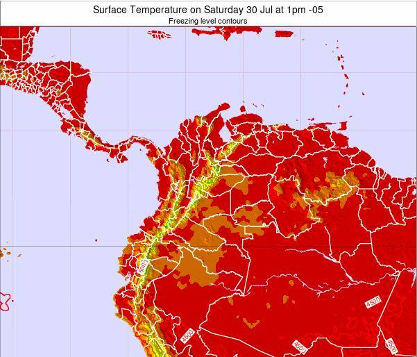 Colombia Surface Temperature on Sunday 27 Apr at 1pm COT