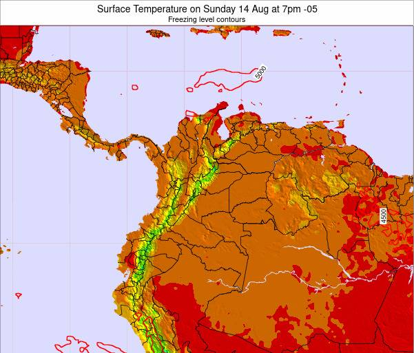 Colombia Surface Temperature on Tuesday 18 Mar at 7pm COT