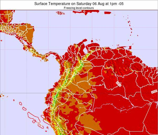 Colombia Surface Temperature on Sunday 26 May at 7am COT