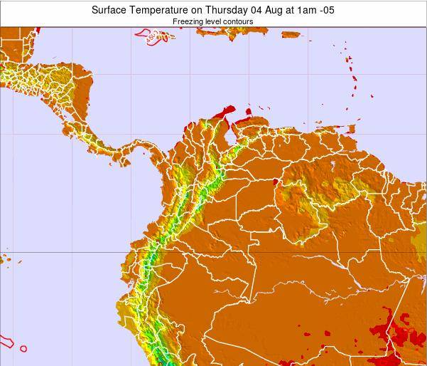 Colombia Surface Temperature on Sunday 19 May at 7pm COT