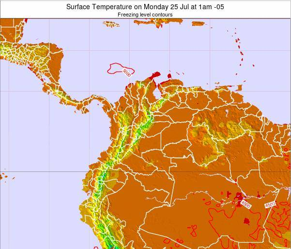 Colombia Surface Temperature on Sunday 09 Mar at 7pm COT