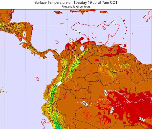 Colombia Surface Temperature on Sunday 25 Jun at 1am COT