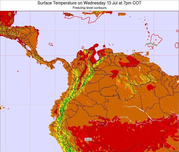 Colombia Surface Temperature on Friday 18 Apr at 7pm COT