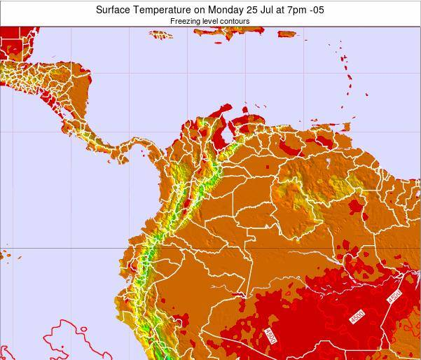 Colombia Surface Temperature on Saturday 25 Oct at 1pm COT