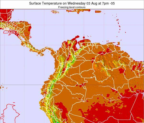 Colombia Surface Temperature on Thursday 24 Apr at 7pm COT