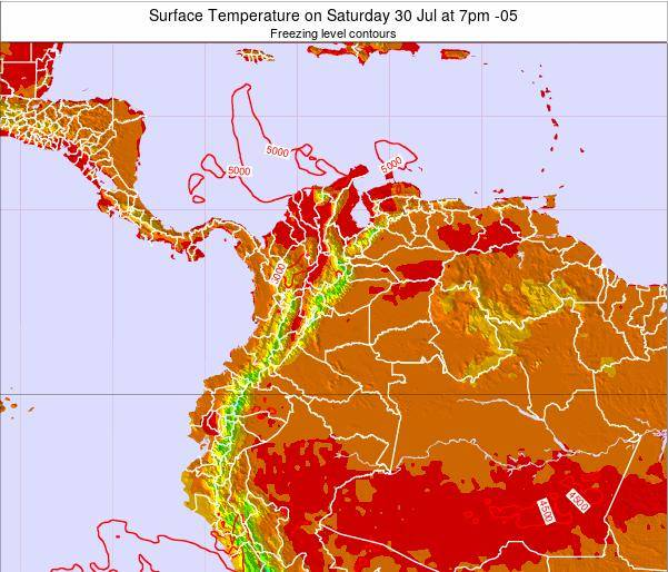 Colombia Surface Temperature on Saturday 01 Aug at 7am COT