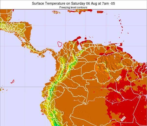 Colombia Surface Temperature on Saturday 25 May at 1pm COT