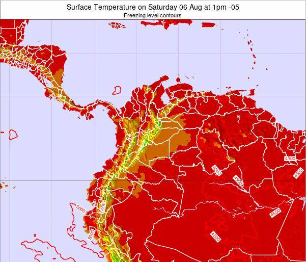 Colombia Surface Temperature on Tuesday 29 Jul at 7pm COT