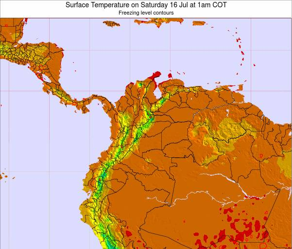 Colombia Surface Temperature on Wednesday 11 Dec at 1pm COT