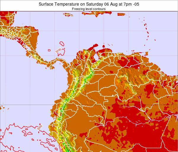 Colombia Surface Temperature on Monday 21 Apr at 1am COT