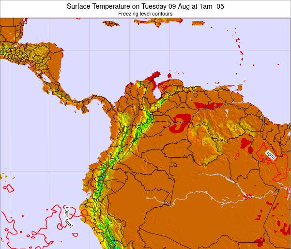 Colombia Surface Temperature on Thursday 17 Aug at 7pm COT