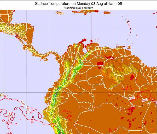 Colombia Surface Temperature on Thursday 24 Apr at 7am COT