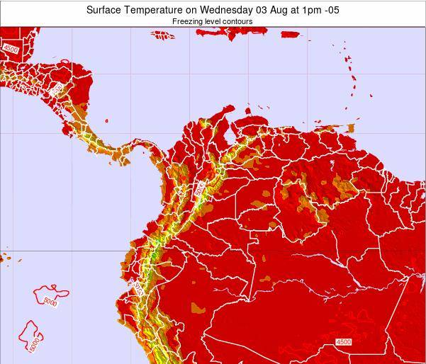 Colombia Surface Temperature on Friday 25 Jul at 7pm COT