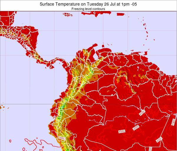 Colombia Surface Temperature on Saturday 22 Jun at 1am COT