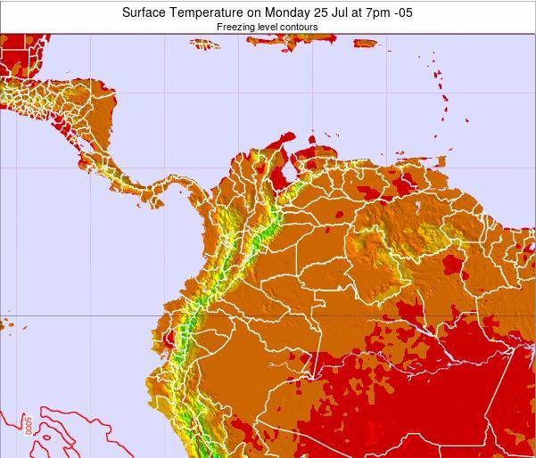 Colombia Surface Temperature on Friday 06 Dec at 7pm COT