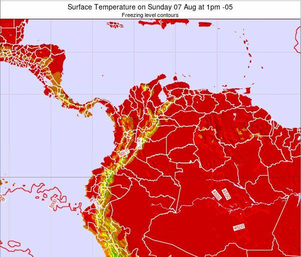 Colombia Surface Temperature on Tuesday 21 Apr at 1am COT