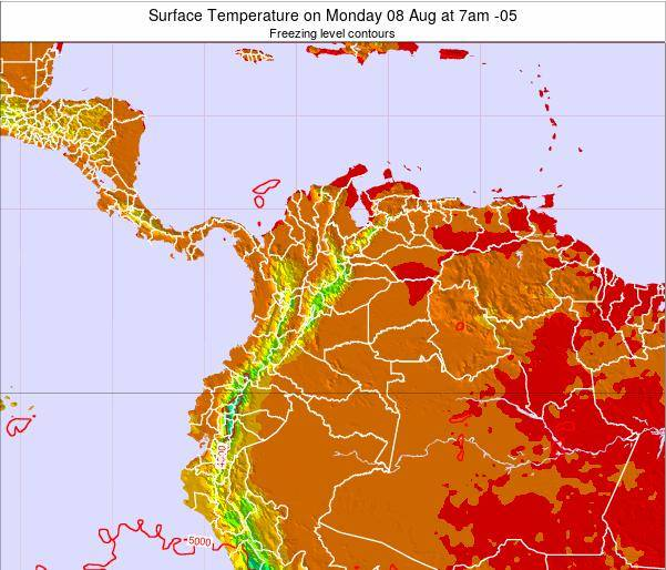 Colombia Surface Temperature on Saturday 05 Sep at 1pm COT