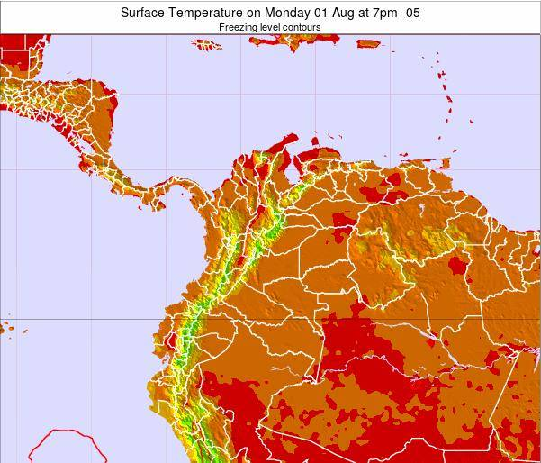 Colombia Surface Temperature on Wednesday 01 Apr at 1pm COT