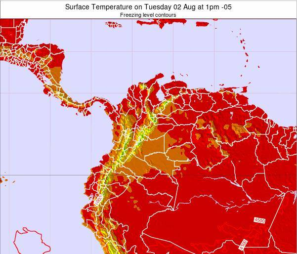Colombia Surface Temperature on Wednesday 30 Jul at 7am COT