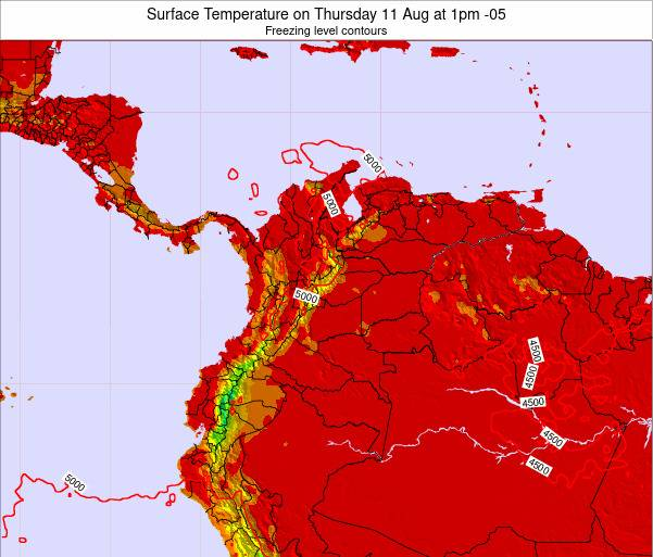 Colombia Surface Temperature on Saturday 19 Apr at 7pm COT