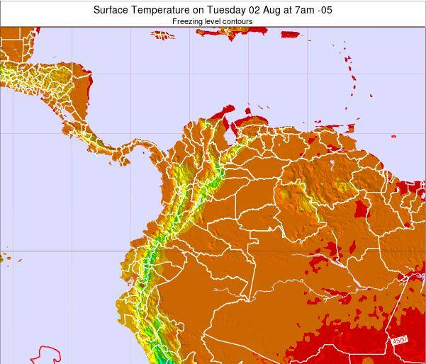 Colombia Surface Temperature on Sunday 27 Jul at 1pm COT