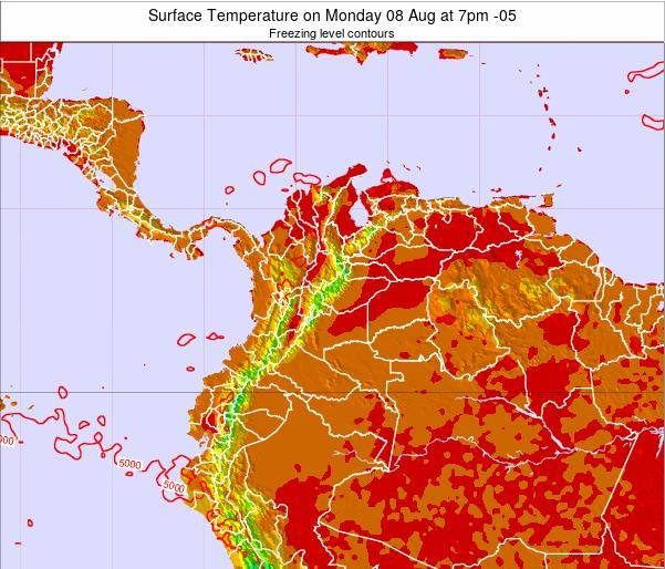 Colombia Surface Temperature on Sunday 30 Oct at 7am COT