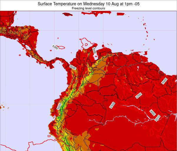 Colombia Surface Temperature on Friday 22 Aug at 7am COT