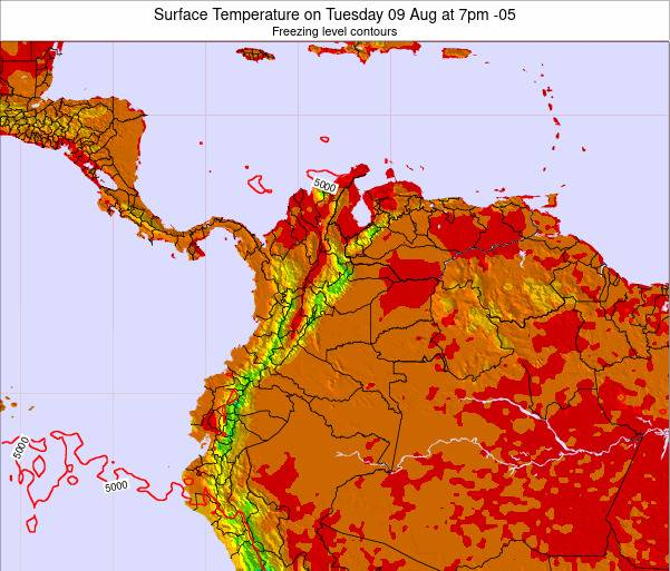Colombia Surface Temperature on Thursday 29 Jan at 7pm COT