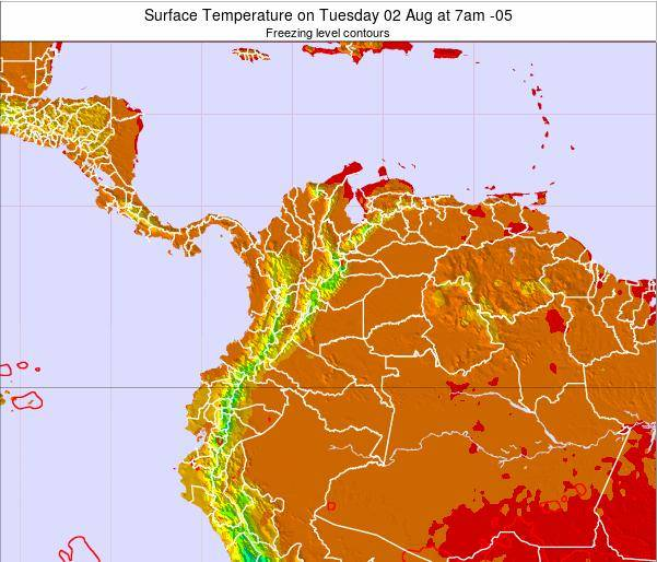 Colombia Surface Temperature on Monday 28 Jul at 1am COT