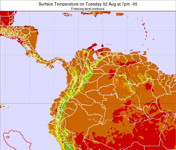 Colombia Surface Temperature on Monday 21 Apr at 7pm COT