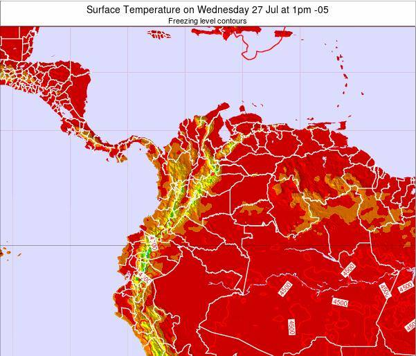Colombia Surface Temperature on Saturday 26 Apr at 1pm COT