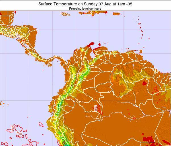 Colombia Surface Temperature on Thursday 23 May at 7am COT