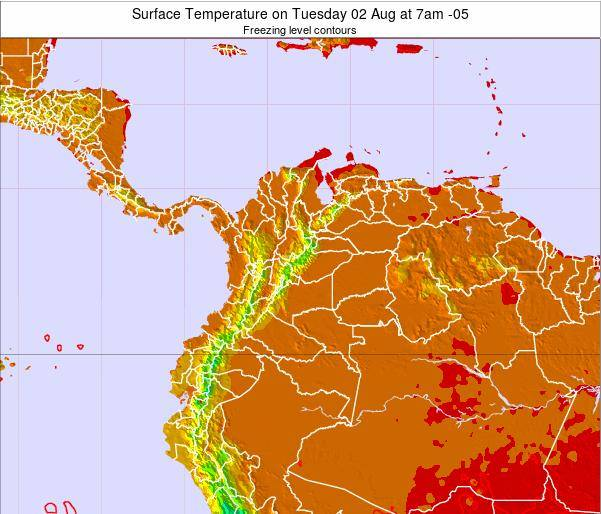 Colombia Surface Temperature on Thursday 13 Mar at 7pm COT