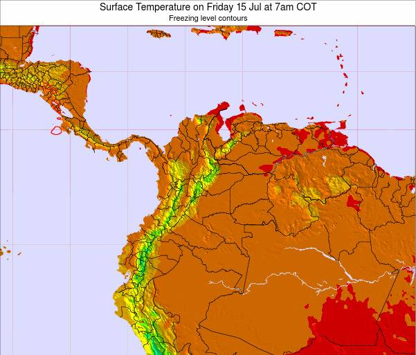 Colombia Surface Temperature on Saturday 07 Dec at 7pm COT