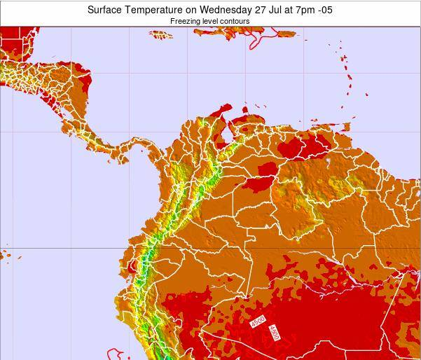 Colombia Surface Temperature on Saturday 26 Jul at 7pm COT