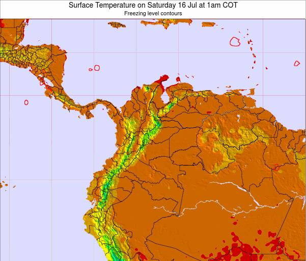 Colombia Surface Temperature on Friday 23 Feb at 7pm COT map