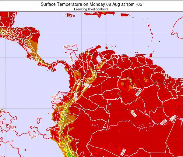 Colombia Surface Temperature on Monday 27 Feb at 7pm COT