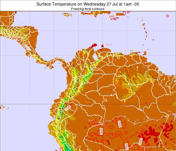 Colombia Surface Temperature on Sunday 27 Apr at 7am COT