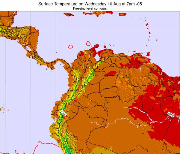 Colombia Surface Temperature on Sunday 20 Apr at 1pm COT