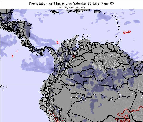 Colombia Precipitation for 3 hrs ending Wednesday 19 Jun at 1am COT