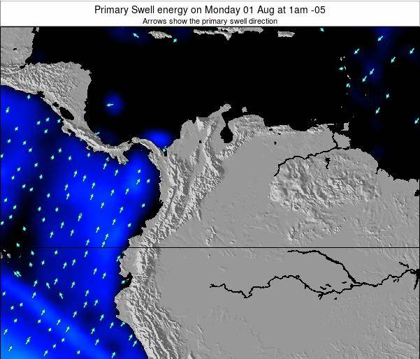 Colombia Primary Swell energy on Tuesday 25 Oct at 1pm COT