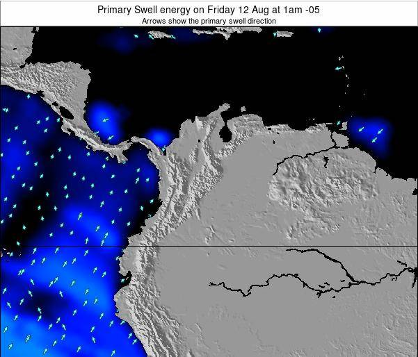 Colombia Primary Swell energy on Monday 21 Aug at 1pm COT