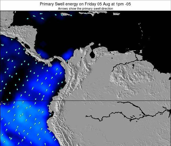 Colombia Primary Swell energy on Saturday 13 Feb at 7pm COT