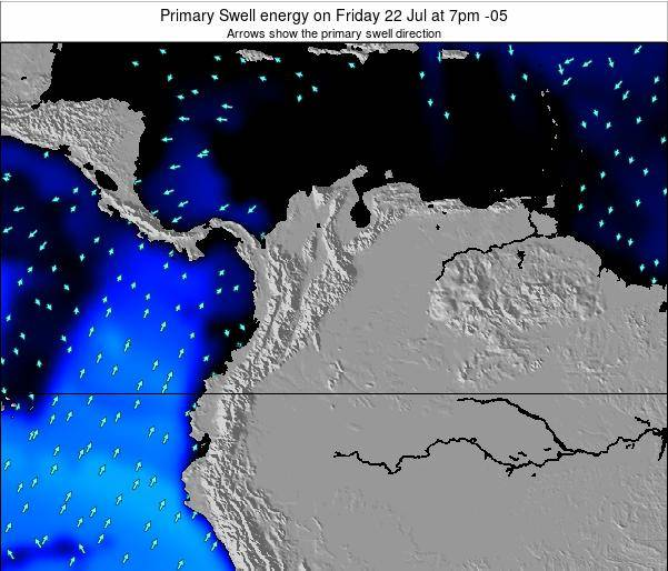 Colombia Primary Swell energy on Monday 10 Mar at 7am COT