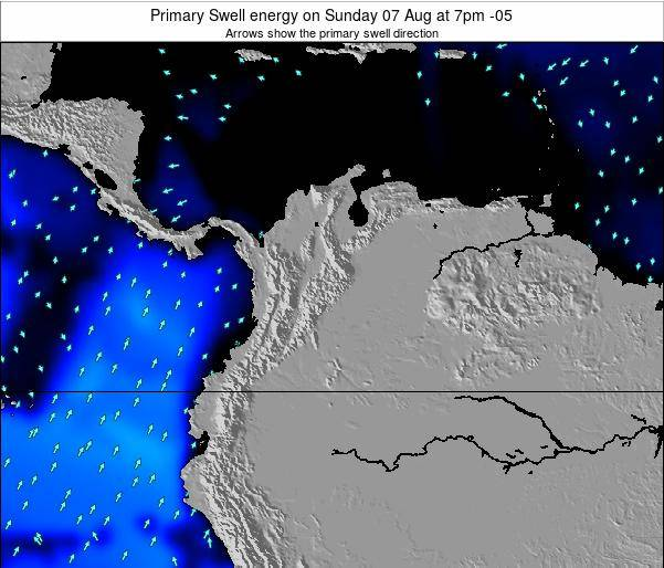 Colombia Primary Swell energy on Saturday 08 Mar at 1am COT