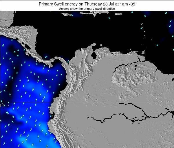 Colombia Primary Swell energy on Monday 24 Jul at 1am COT